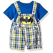 Warner Brothers Baby Boys' 2 Piece Batman Bodysuit and Shortall Set, Blue, 6/9m