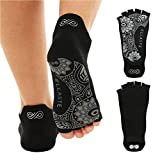 Ellaste Yoga Socks - Non Slip Grippy Socks for Yoga, Pilates, and Barre - Open Toe Style with Anti Skid Grip (Black)