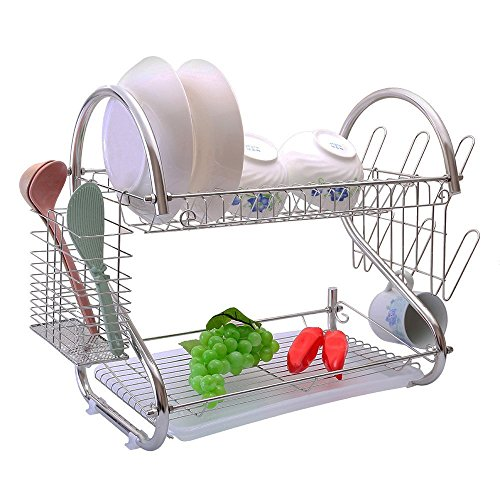 2-Tiers Rustproof Stainless Steel Metal Wire Medium Dish Drainer Drying Rack,Kitchen Plate Chopstick Cup Utensil Organizer Holder With Drip Tray (Stainless Steel, Chrome) (Juego De Platos De Cocina)