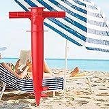 YiZYiF Beach Umbrella Sand Anchor Heavy Duty Adjustable Plastic Garden Parasol Umbrella Fishing Pole Spike Auger Stand Holder Red One Size