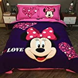 CASA 100% Cotton Brushed Kids Bedding set Girls Minnie Duvet Cover and Pillowcases and Fitted sheet,girls,4 Piece,Queen