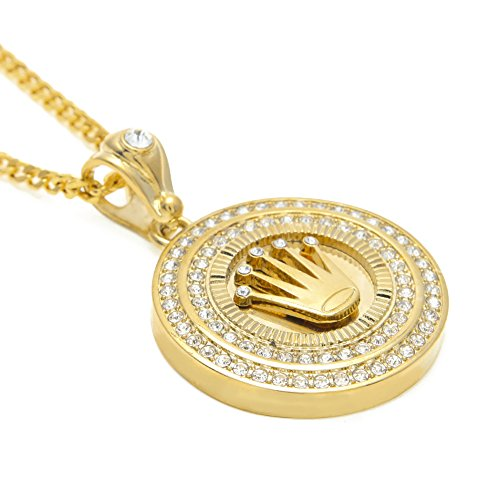 Hip Hop Crown (HongBoom Hot Hip Hop Cuban Link Chain 14K Gold Silver Plated CZ CRYSTAL Fully Iced-Out Crown Tag Necklace (Gold))