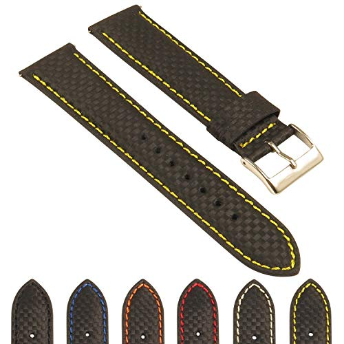 d Carbon Fiber Leather Watch Band - Quick Release Strap - 18mm 20mm 22mm 24mm ()