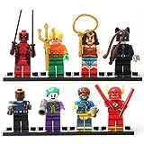 New Hot Mini Toys Marvel - Cyclops Catwoman Wonder Woman Joker Flash Aquaman Deadpool Fury Minifigures Building Brick Blocks Toy for Children Kids, 8Pcs/Set ABS Plastic Multi-color