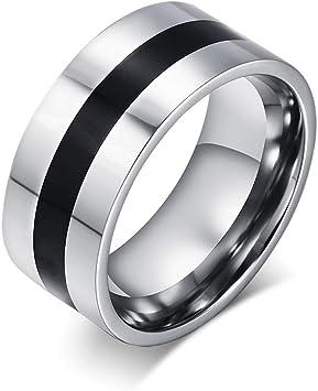 Herren Ring,Herren Schwarz Streifen Ring Edelstahl Ring Mit M/änner Wedding Bands des Einfachen Schmuck Valentinstag Vorhanden