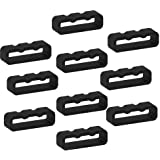 ECSEM Fastener Rings Compatible with Garmin Fenix 5/ Fenix 5 Plus/Fenix 6 Pro Solar Bands(Pack of 10) Silicone Connector Security Loop Keepers Ring,Black