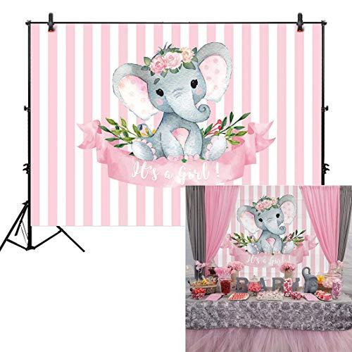 (Allenjoy 7x5ft It's a Girl Elephant Backdrop for Baby Shower Princess Newborn Birthday Decoration Pink White Stripes Watercolor Flower Photography Background Photo Booth Studio Props Favors Supplies )
