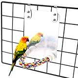 ASOCEA Bird Parrot Mirror Parakeets Rope Perch Bird Conures Swing Toys Cage Accessories for Cockatoo Cockatiels Macaws African Grey Lovebird Budgie