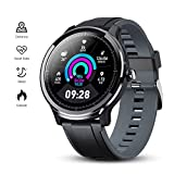 GOKOO Smart Watch Sport Activity Tracker Waterproof Smartwatch for Men with Blood Pressure Heart Rate Sleep Monitor Breathing Train Step Distance Calorie Full Touch Camera Music Control (Black-Gray) Reviews