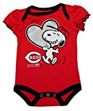 Cincinnati Reds Love Snoopy At Bat Infant Size 6-9 Months Onesie / Bodysuit - Ruffled Sleeves Red Creeper