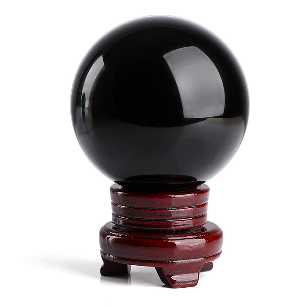 Fine commodities 100 mm(3.9 in)Black Crystal Ball with Free Redwood Stand