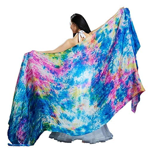 (Nimiman Women Hand Made Tie Dyed Belly Dance Veil Silk Scarf (Blue))