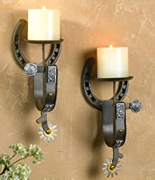Cast Iron Spur Western Candleholder Set - 2 pcs - Rustic Decor