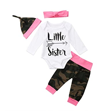 713282a1680 Infant Newborn Baby Girls Little Sister Bodysuit Camouflage Pants with  Headband and Hat Outfit (0