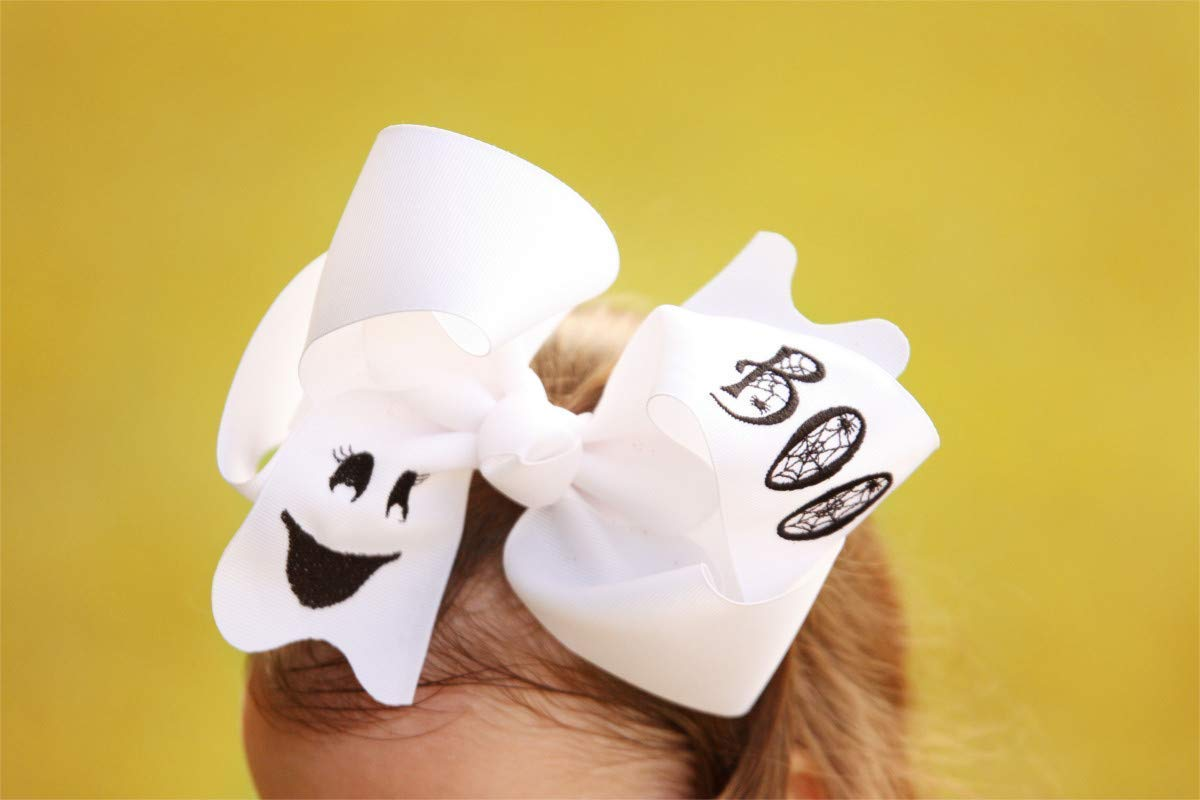 Big Halloween Ghost Hair Bow for Girl 6 Inches on Alligator Clip