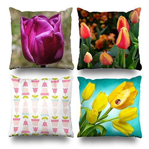Kutita Set of 4 Decorativepillows 18 x 18 inch Throw Pillow Covers, Tulip Aqua Yellow Series Double-Sided Decorative Home Decor Pillow case Garden Sofa Bedroom Car Nice Gift