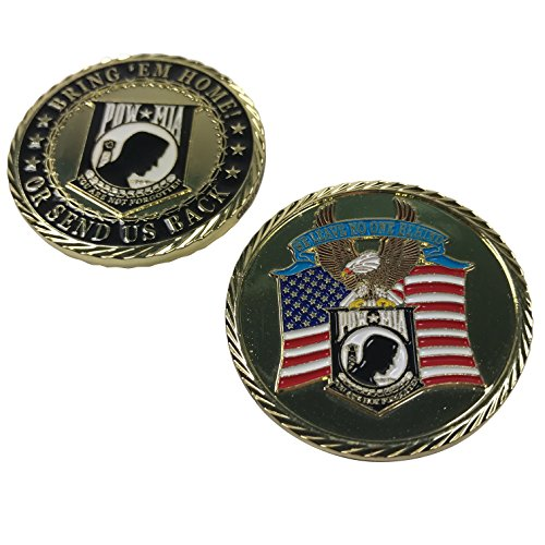 POW MIA Challenge Coin - Bring 'Em Home or Send Us Back - We Leave No One Behind