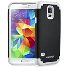 Fosmon® Samsung Galaxy S5 (HYBO-DUOC) Detachable Dual Layer Hybrid (Silicone + PC) Case Cover for Samsung Galaxy S5 SV - Fosmon Retail Packaging (White/Black)