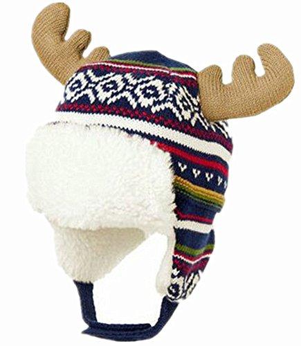 MULLSAN Kids Raindeer Hats Cotton Brocade Knited Cap With Earflaps For Winter Christmas Best Gift (1-2 years, Navy (Raindeer Hats)