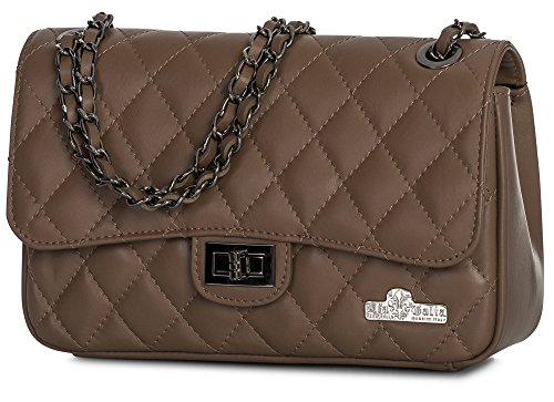Genuine CAROL Womens Party Italian LIATALIA Bag Taupe Ladies Quilted Medium Purse Clutch Leather Evening qngnPtxw8