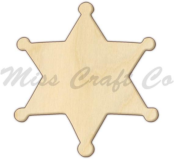 Wooden Sheriff Badge Cutout DIY Wood Craft Shapes Blank Wood Shapes for Crafting Wood Badge Cutout Shape Paintable Sheriff Badge