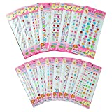 YUEAON 16 Pack Different Designs Colorful Rhinestone Stickers Self Adhesive Bling Craft Jewel gem Diamond Sticker Embellishments -Assorted Size-16 Patterns