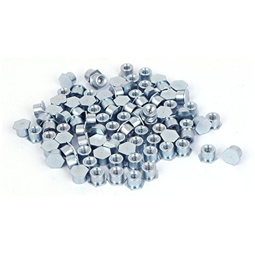 Aexit Carbon Steel Nails, Screws & Fasteners Zinc Plated Hex Head Full Thread Self Clinching Standoff Silver Blue Nut & Bolt Sets M3x4mm 100pcs
