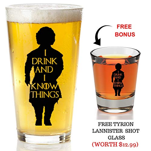 I Drink And I Know Things Beer Glass With Complimentary Shot Glass - Game Of Thrones Merchandise   Tyrion Lannister Funny Novelty Mug 4