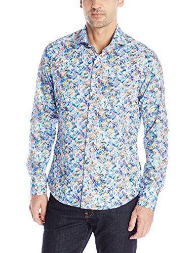 Stone Rose Men's Tropical Leaves Long Sleeve Button Down Shirt, Multi, Large