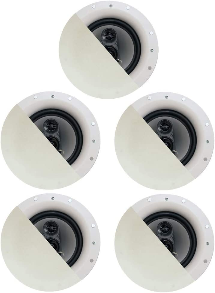 "Acoustic Audio by Goldwood CSic84 Frameless 8"" in Ceiling 5 Speaker Set 3 Way Home Theater Speakers, White, (Model: CSic84-5S) (Renewed)"