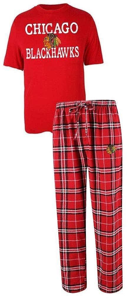 NHL Chicago Blackhawks Mens Shirt and Pajama Pants Flannel PJ Sleep Set