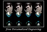 Cheap Celtic Dragon Teal Wine Glass Set of 4- Free Personalized Engraving, Deep Blue