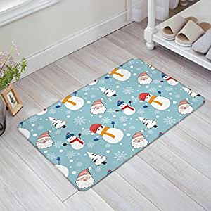 Libaoge Lovely Cartoon Santa Claus Winter Snowman Snowflake Trees Blue Doormat Welcome Mat Entrance Mat Indoor/Outdoor Door Mats Floor Mat Bath Mat
