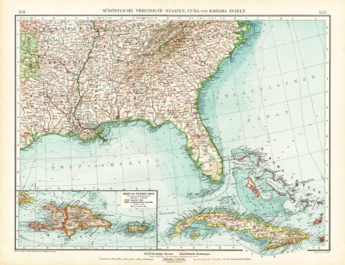 Southeast Florida Maps - Antique Map-SOUTH EAST AMERICA-USA-UNITED STATES-FLORIDA-CUBA-HAITI-Andree-1904