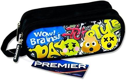 Premier Stationery C5616287 Emojis Wow Brains - Estuche ovalado con 3 bolsillos y cremallera: Amazon.es: Oficina y papelería