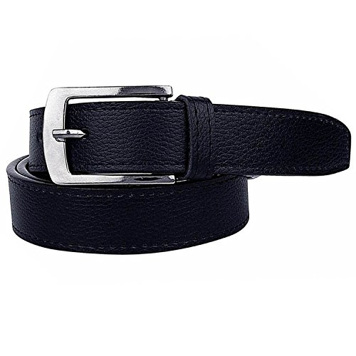 Krystle Prime Men's PU Leather Belt (KRY-MEN-BLK-BELT, Black, Free Size)