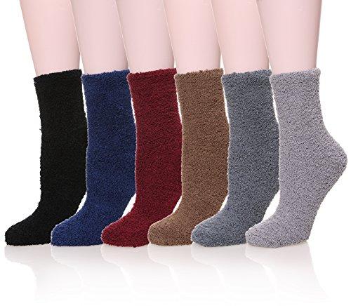 Womens Super Soft Fuzzy Cozy Home Sleeping Socks Microfiber Winter Warm Slipper Socks (6 Pairs Solid)