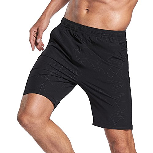 LTIFONE Mens Shorts Gym Training Bodybuilding Exercise Shorts Lightweight Quick Dry Spandex Mens Active Workout Shorts Athletic Summer Shorts(Black,M)