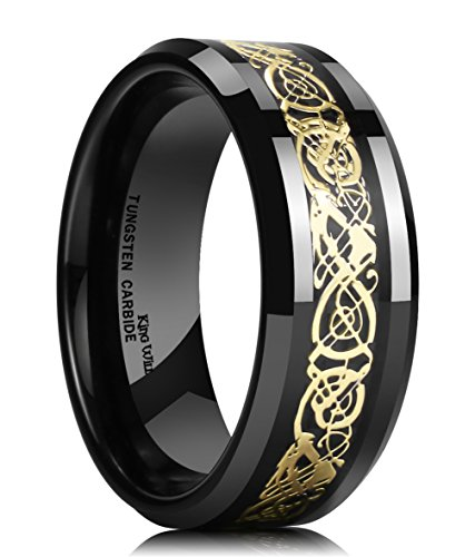 King Will DRAGON 8mm Mens Black Tungsten Ring Glod Celtic Dragon Comfort Fit Wedding Band Engagement Ring