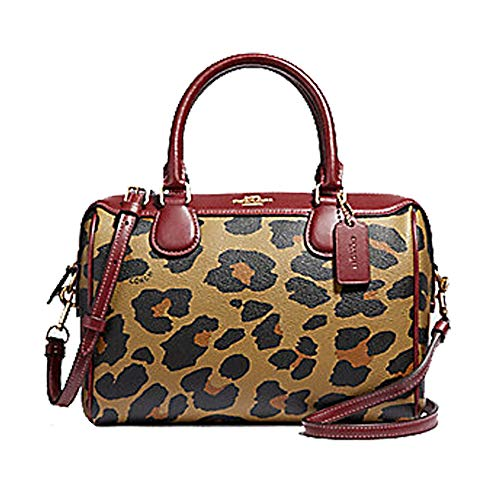 Print Satchel - COACH MINI BENNETT SATCHEL WITH LEOPARD PRINT NATURAL