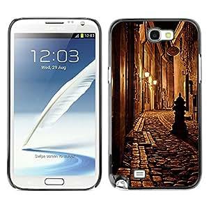 Caucho caso de Shell duro de la cubierta de accesorios de protección BY RAYDREAMMM - Samsung Galaxy Note 2 N7100 - Medieval Street Night Lamp