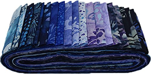 Bali Batiks Blue Hawaiian Bali Poppy 20 2.5-inch Strips Jelly Roll Hoffman BPP-200-Blue-Hawaiian