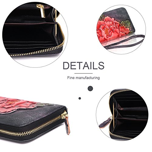 APHISON-Designer-Womens-Leather-Zipper-Wallets-Cowhide-Embossed-Card-Clutch-Holder-Purse-317