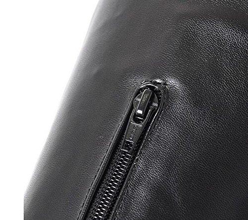 Beauqueen Mat PU sobre la rodilla botas de invierno de altura Almendra en forma de dedo del pie estilete de tacón alto Partido caliente informal botas de cremallera femenina personalizada tamaño de Eu brown (pu)