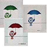 Mixed Birds in Rain Set of 3 Each Swedish Dishcloths | ECO Friendly Absorbent Cleaning Cloth | Reusable Cleaning Wipes