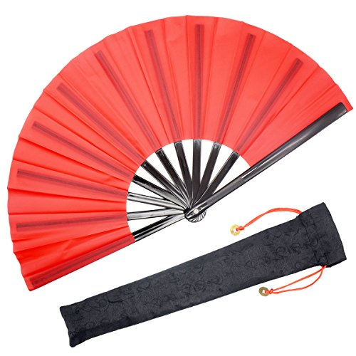OMyTea Chinese Kung Fu Tai Chi Large Hand Folding Fan for Men/Women - with a Fabric Case for Protection - for Performance/Dance/Fighting/Gift (Red)