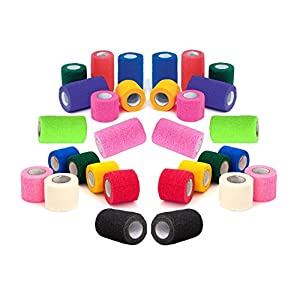 Prairie Horse Supply Vet Tape Wrap, Self Adherent Rap Tape, Adhering Stick Bandage, Self Grip Roll (2, 3, or 4 Inches Wide) x 15' Feet - Assorted Colors, Single Roll