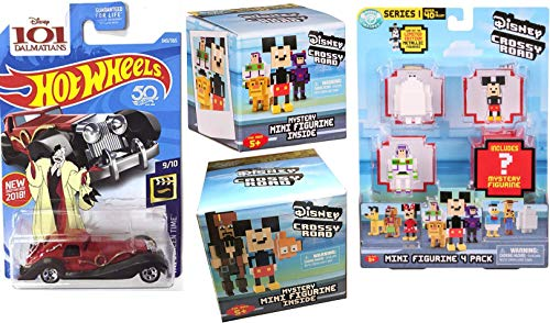 Crossy Road Disney Series 1 Mini Figurine 4-Pack & (1) Mystery Mini Figure Blind Bag Hanger Video Game Character Bundle