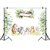 Allenjoy 7x5ft Forest Animal Party Backdrop Watercolor Floral Green Plant First Birthday Banner Decor Decoration Cake Dessert Table Baby Shower Background