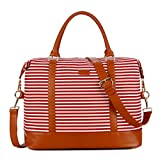 BAOSHA HB-28 Ladies Women Canvas Travel Weekender Overnight Carry-on Shoulder Duffel Tote Bag With PU Leather Strap (Red)